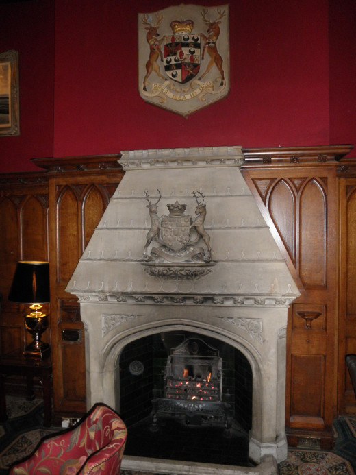 Fireplace in one of the main bar areas in the castle.