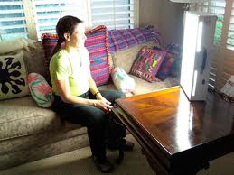 An example of light therapy, a popular treatment for seasonal affective disorder.