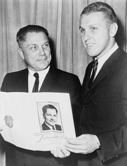 James P. Hoffa, half-length portrait, with his father James R. (Jimmy) Hoffa in 1965.
