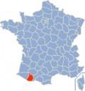 Map location of Hautes-Pyrénées department, France