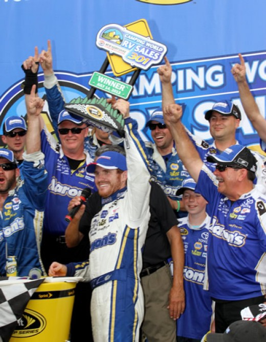 Brian Vickers celebrates his win at New Hampshire earlier this year