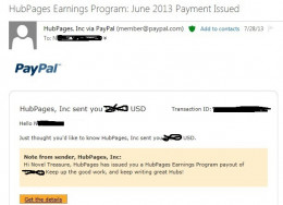 Email notification of monthly payout. User agreement prohibits Hubbers from showing exact earnings.