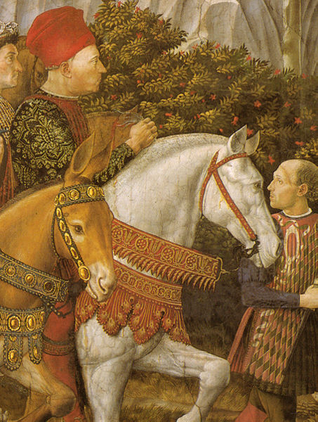 This beautiful detail from Gozzoli's fresco can be seen in Florence. Gozzoli lived from 1421 to 1497.