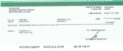 Google Cheque epay service