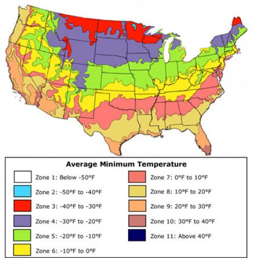 USDA Climate Zone Map