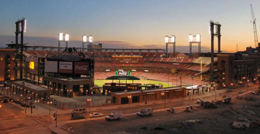 An evening view of new, gorgeous Busch Stadium