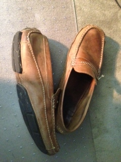 My well worn favorite pair of Clark's Driving Mocs