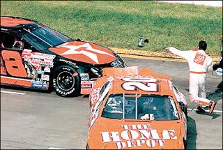 Stewart is displeased with Kenny Irwin Jr. during Stewart's rookie season
