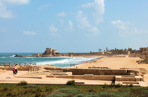 Caesarea port with the Crusader's city in the background. Israel.