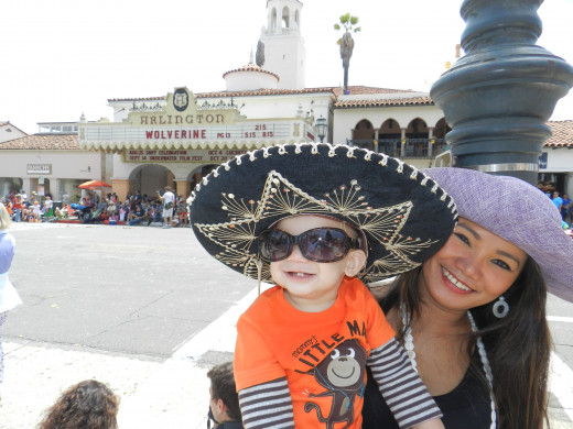 Austin T. Fox, the newest and youngest world sensation, makes an appearance in his sombrero and shades at Santa Barbara's famed Old Spanish Days 2013.