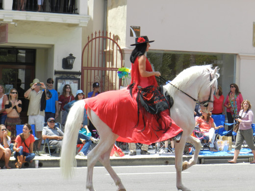 Dancing horses are just one of the attractions at the equestrian parade on Santa Barbara's historic State Street.