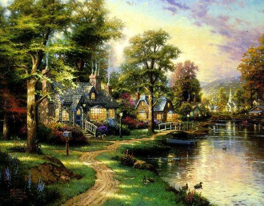 A Group of Cottages by the River