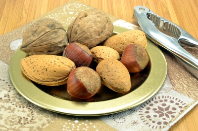 almonds, hazelnuts and walnuts