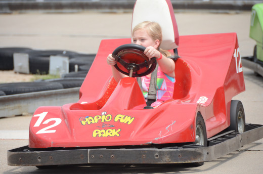 If you are 8 years old and 50 inches tall you can ride the go-karts at Papio Fun Park!