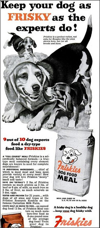 Dog food ad from 1953