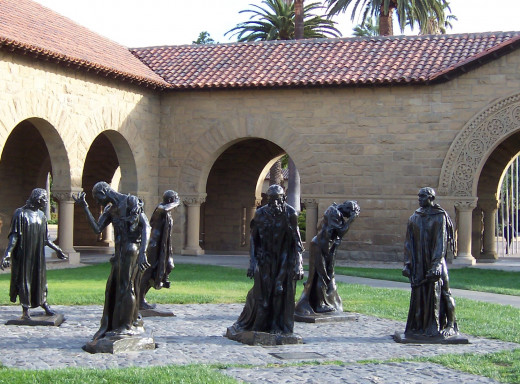 A few of the sculptures by Rhodin on campus.