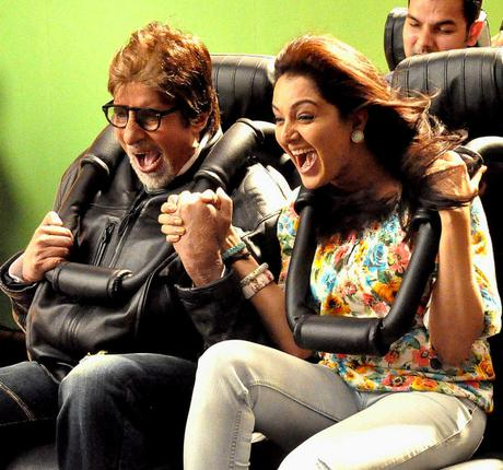 Bollywood icon Amitabh Bachchan with Malayalam actor Manju Warrier at the shooting of an ad film for Kalyan Jewellers