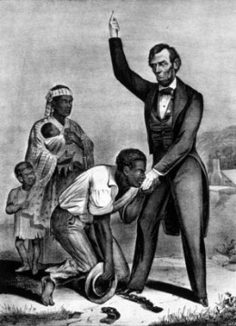 """Lincoln ins considered """"The Great Emancipator"""" for his abolition of slavery"""