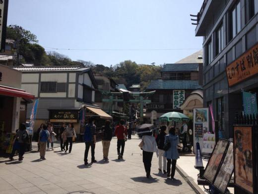 Shops lining the main street of Enoshima leading up to the Enoshima Shrine