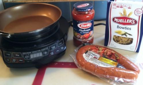 Ingredients for sausage with pasta