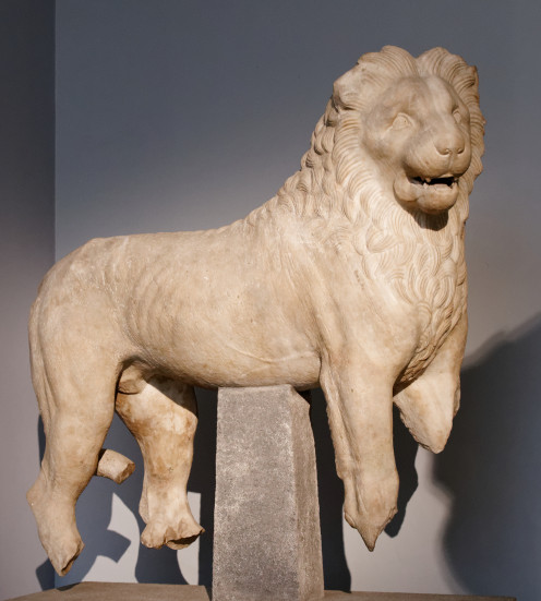 A statue of a lion which was probably set up bordering the stairway that led to the platform. Current Location: British Museum