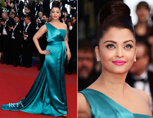 Aishwariya Rai in Teal Gucci Gown at Cannes