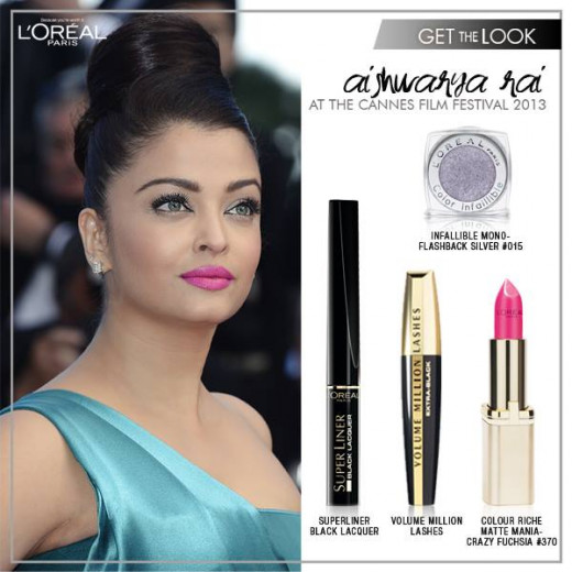 The makeup used to get this look of Aishwarya. Loreal Paris lipstick in Crazy fuchsia.