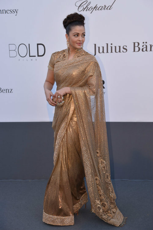 Aishwarya Rai in golden saree at Cannes