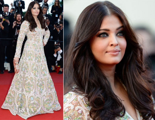 Aishwarya in white Abu Jani Sandeep Khosla floor-length gown with colourful heavy embroidery