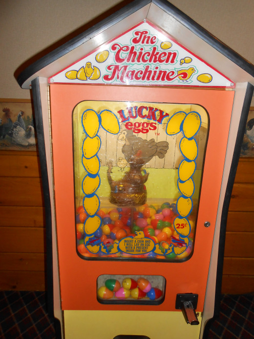 For 25 cents, kids can get a surprise in an egg laid by a squawking chicken!