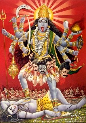 The wild goddess Kali, often associated with Tantric ritual, graveyards, and death.