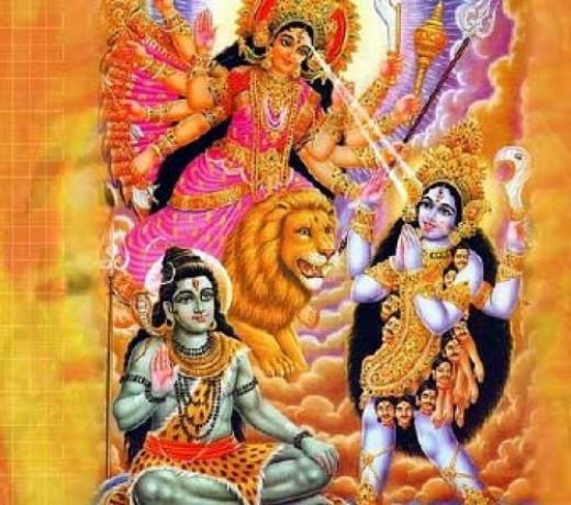 Durga helps subdue Kali.  Kali, here, looks kind and tame.