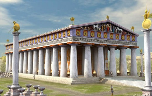 The temple of Zeus.  In Greece, temples became central hubs of religious and civic importance.