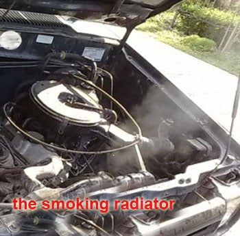 Vibrating sound while accelerating is a smoking radiator tank, engine is overheating, the solution