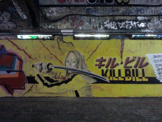 A Kill Bill mural, where Mamba looks like she's ready to strike.