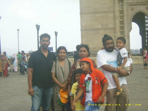 Myself with family before the Gateway of India Monument