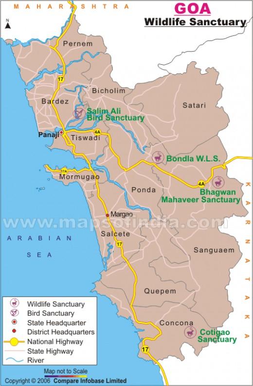 Road map of Wildlife Sanctuaries at Goa