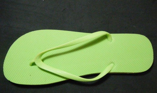 Typical foam flip flop used for making foam cores
