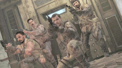 The Original Characters. From left to right, back row: Edward Richtofen and Nikolai Belinski. Front row: Takeo Masaki andTank Dempsey.