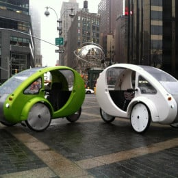An interesting looking vehicle for sure! With one wheel in the back and two in front, this vehicle can either be pedaled, run with an electric motor that lasts about two hours, or can be used by combining battery power and pedaling.