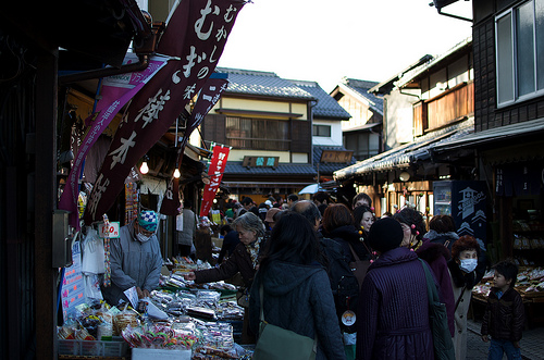 Sweets being sold in shops along Kashiya Yokocho