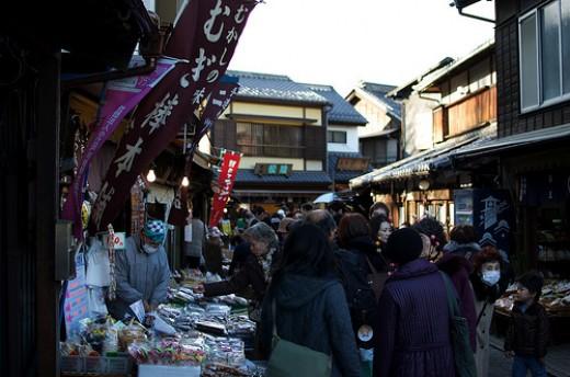 Sweets being sold in shops along Kashiya Yokocho