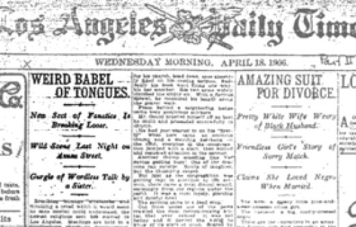 A newspaper mentioning the Azusa Street church (the first Pentecostal Church in the USA).