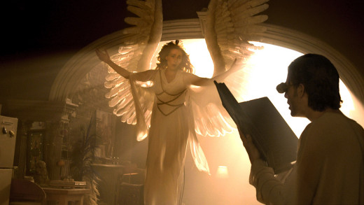 The messenger Angel visits her unlikely prophet Prior, in Angels in America