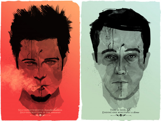Images of Tyler Durden and Jack from Fight Club