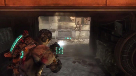 These Necromorphs that you encounter down on the planet behave much like the pack-Morphs did in Dead Space 2.