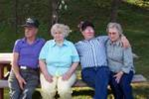 This my mom and her siblings at a reunion about ten years ago. Left to right: Bob, Lila, Hoyt and Lena (mom)