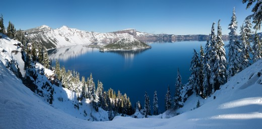 Crater Lake beneath a blanket of snow.