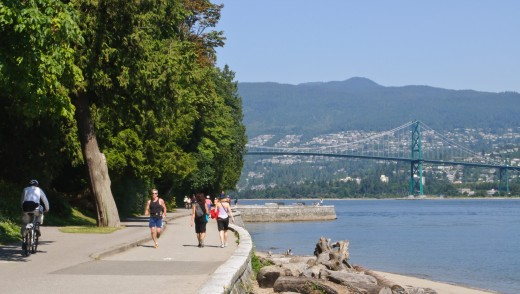 The seawall path in Stanley Park.