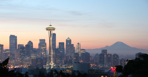 The Space Needle and Seattle skyline.